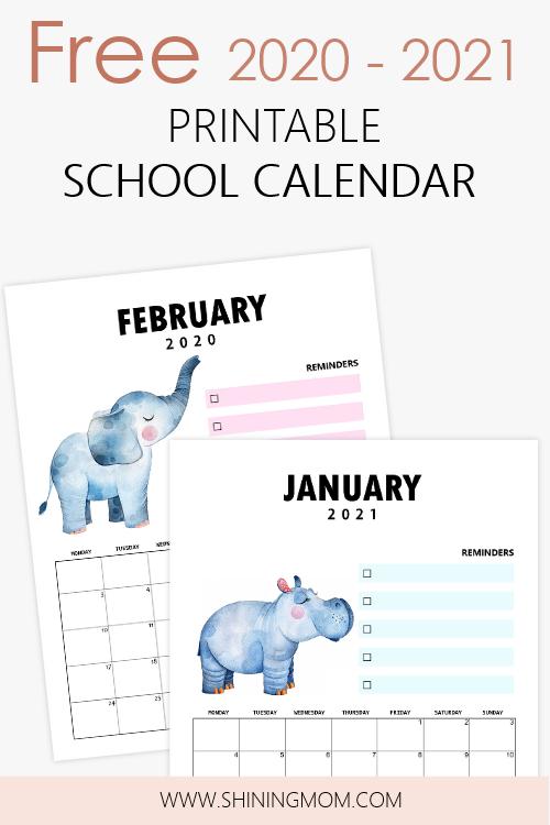 School Calendar 2020 to 2021 Free Printables | School ...