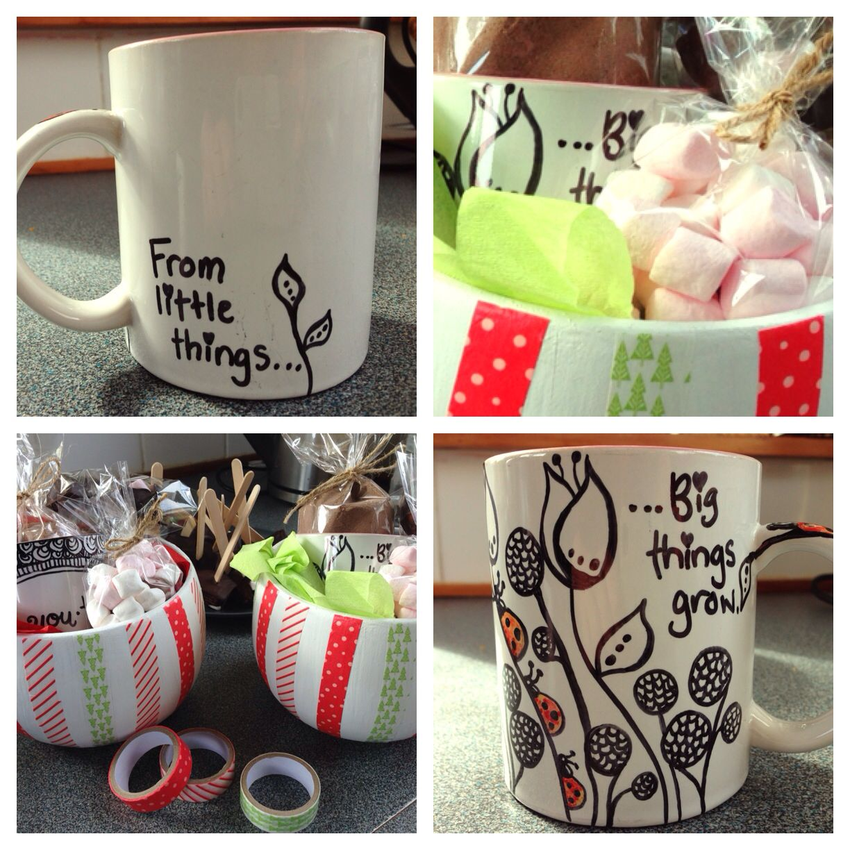 Personalised sharpie mug in a hot cocoa gift pack for DIY