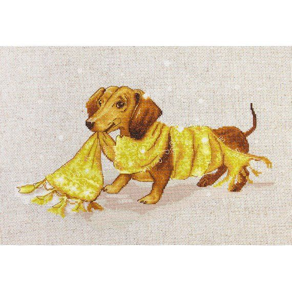 """15 Count RIOLIS Counted Cross Stitch Kit 9.75/""""X9.75/""""-Dachshund"""