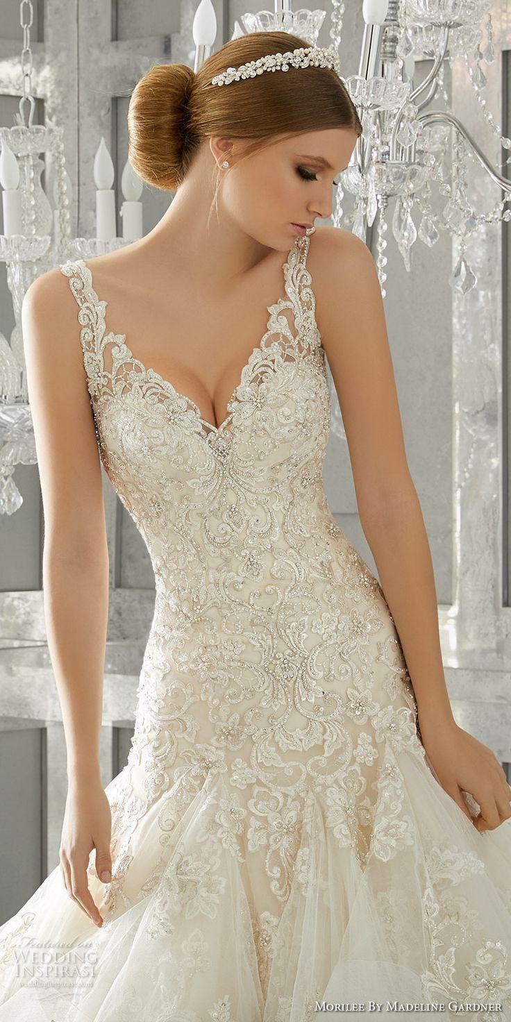 Morilee fall bridal strap v neck heavily embellished bodice