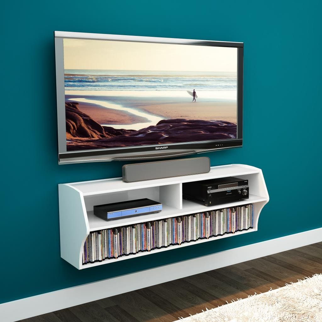 White Altus Wall Mounted Audio Video Console Wall Mounted Tv Floating Shelves Entertainment Center Floating Tv Stand