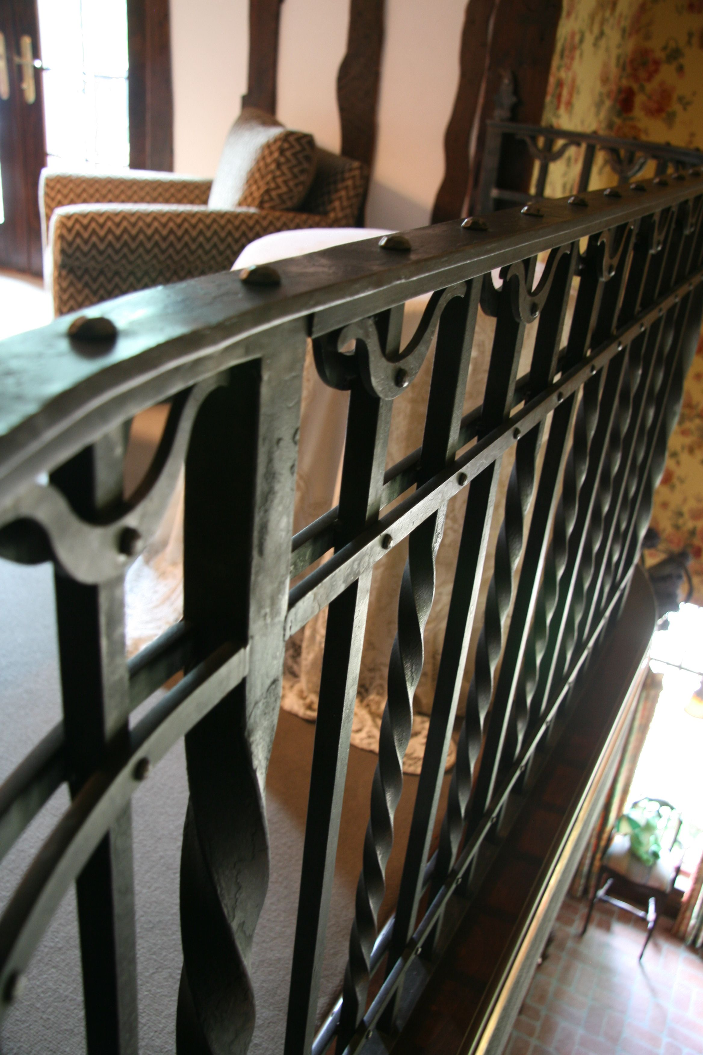 Custom Wrought Iron Railing, Wax And Patina Finish