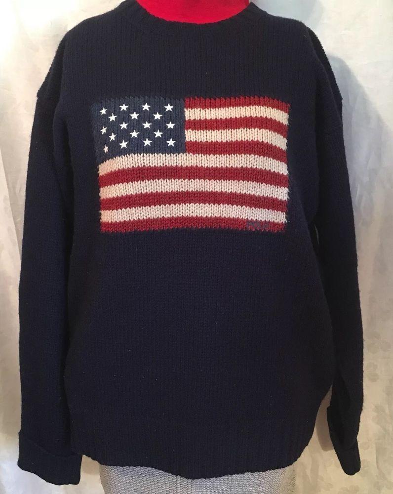914cdabb3 POLO Ralph Lauren American Flag Sweater M Navy Blue Knit Lambswool Crew Neck  Vtg