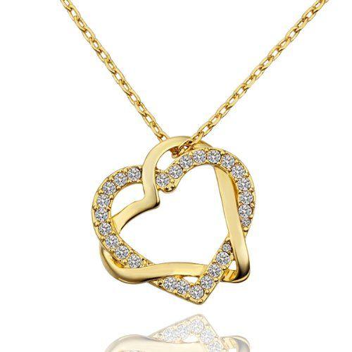 MARENJA Fashion-Collier Femme-Coeur Double Entrelacé-Plaqué Or Jaune 18k-Cristal Blanc-Bijoux Fantaisie-45+5cm