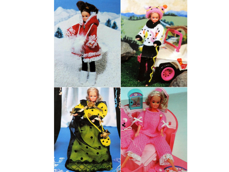 KNITTING PATTERN MAKE VINTAGE SINDY BARBIE DOLLS CLOTHES DK SKIRT TROUSERS TOPS