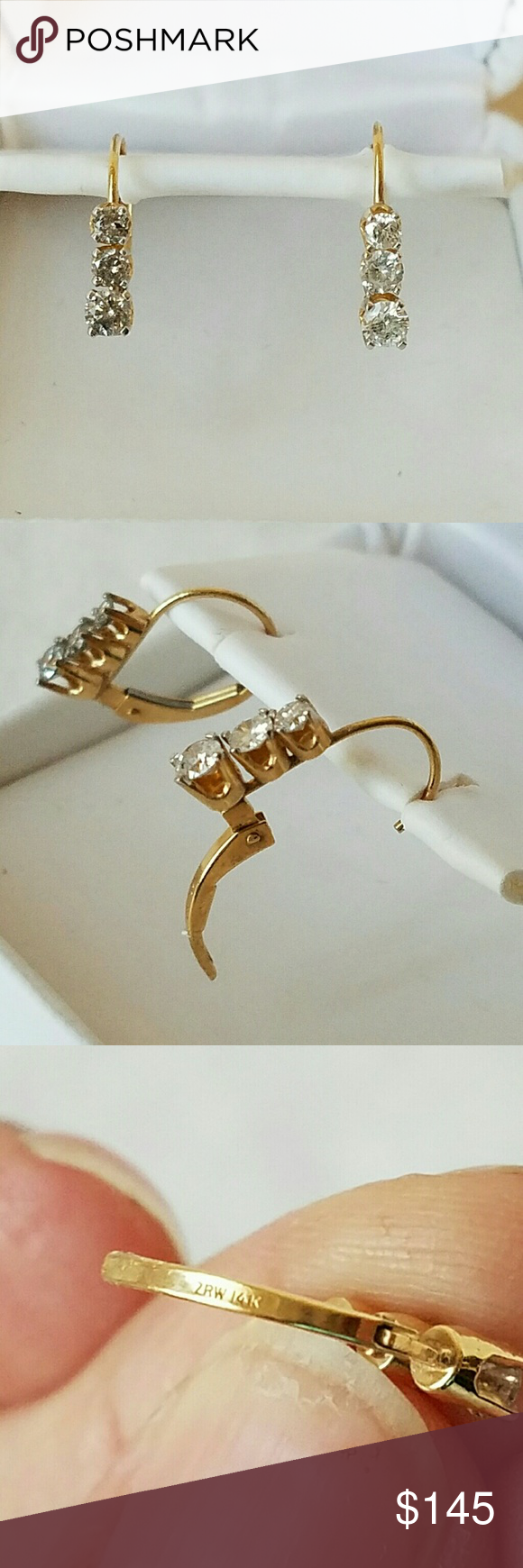 14k Diamond Past Present Future Trilogy Earrings Solid Yellow Gold With 6 Genuine Natural Diamonds 3 On Each Ear Graduate From Rox 2 2mm