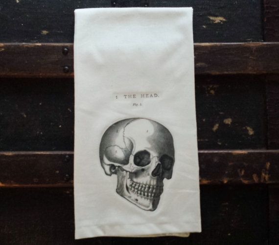 Hand towels  --  $15  --  such a fun and easy way to redecorate the bathroom! This skull is perfect for Halloween and makes a great gift as well. >>> Towel size