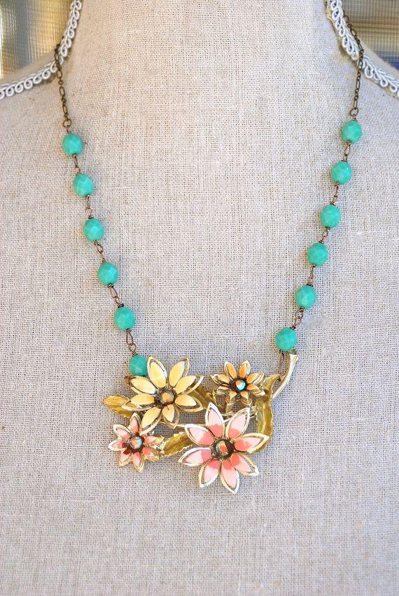 Bloom. vintage enamel flower brooch necklace.Tiedupmemories