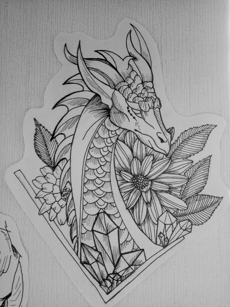 Dragon flowers tattoo sketch graft black and white -   21 dragon tattoo sketch