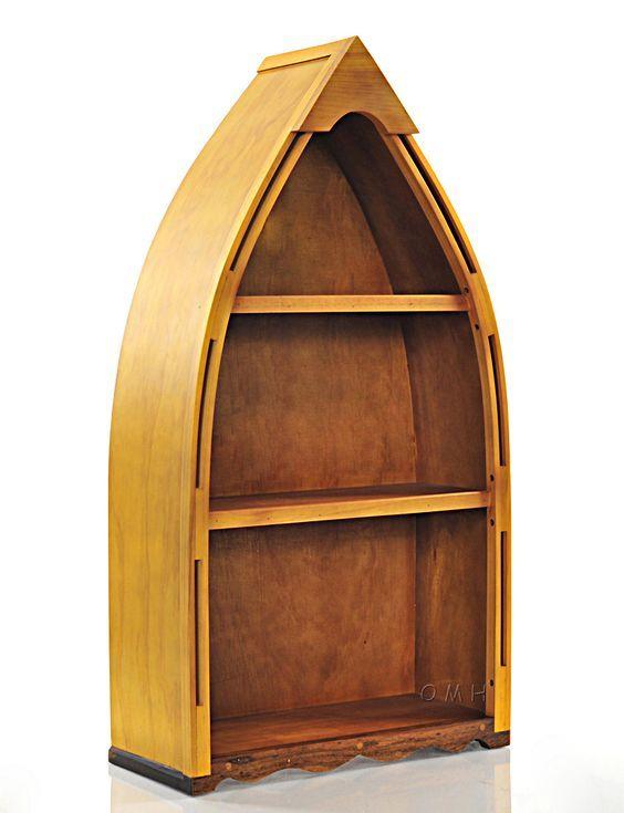 Handcrafted Row Boat Canoe Bookcase Bookshelf