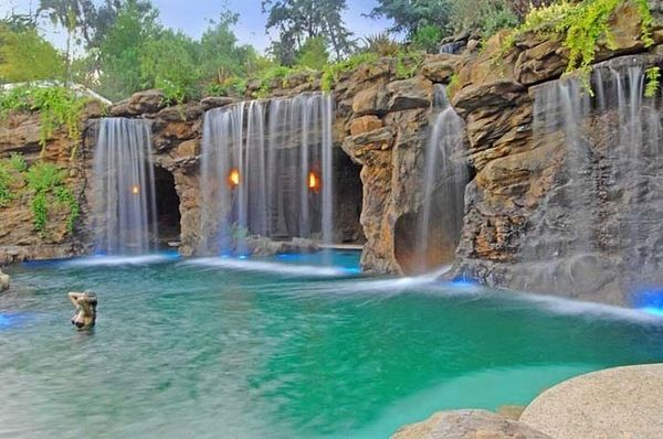 amazing pool waterfalls design pool water features unique ...
