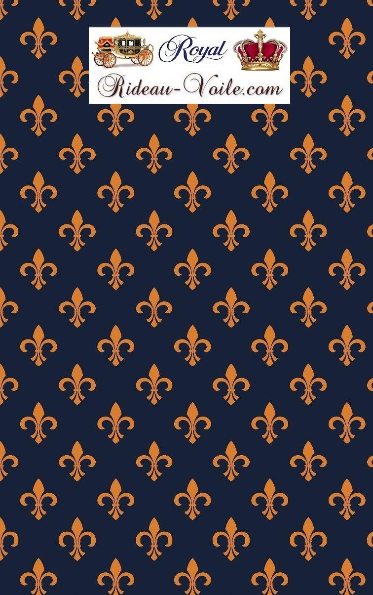 Tissu Motif Bleu Fleur De Lys Tissu Motif Style Empire Imprime