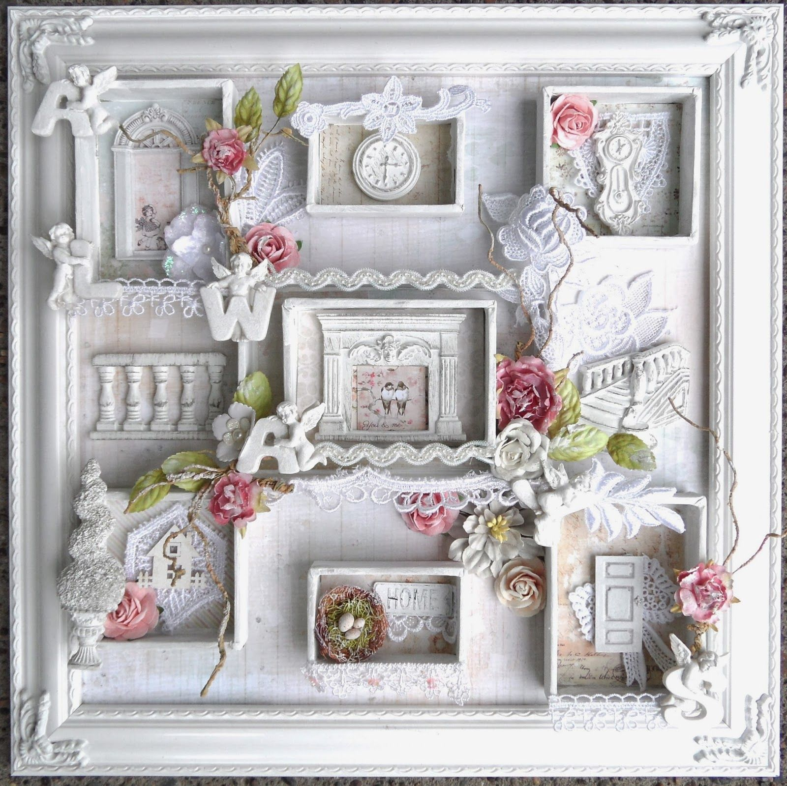 iluvvintagescrap shabby chic frame shadow box prima tableaux pinterest cadres shabby. Black Bedroom Furniture Sets. Home Design Ideas