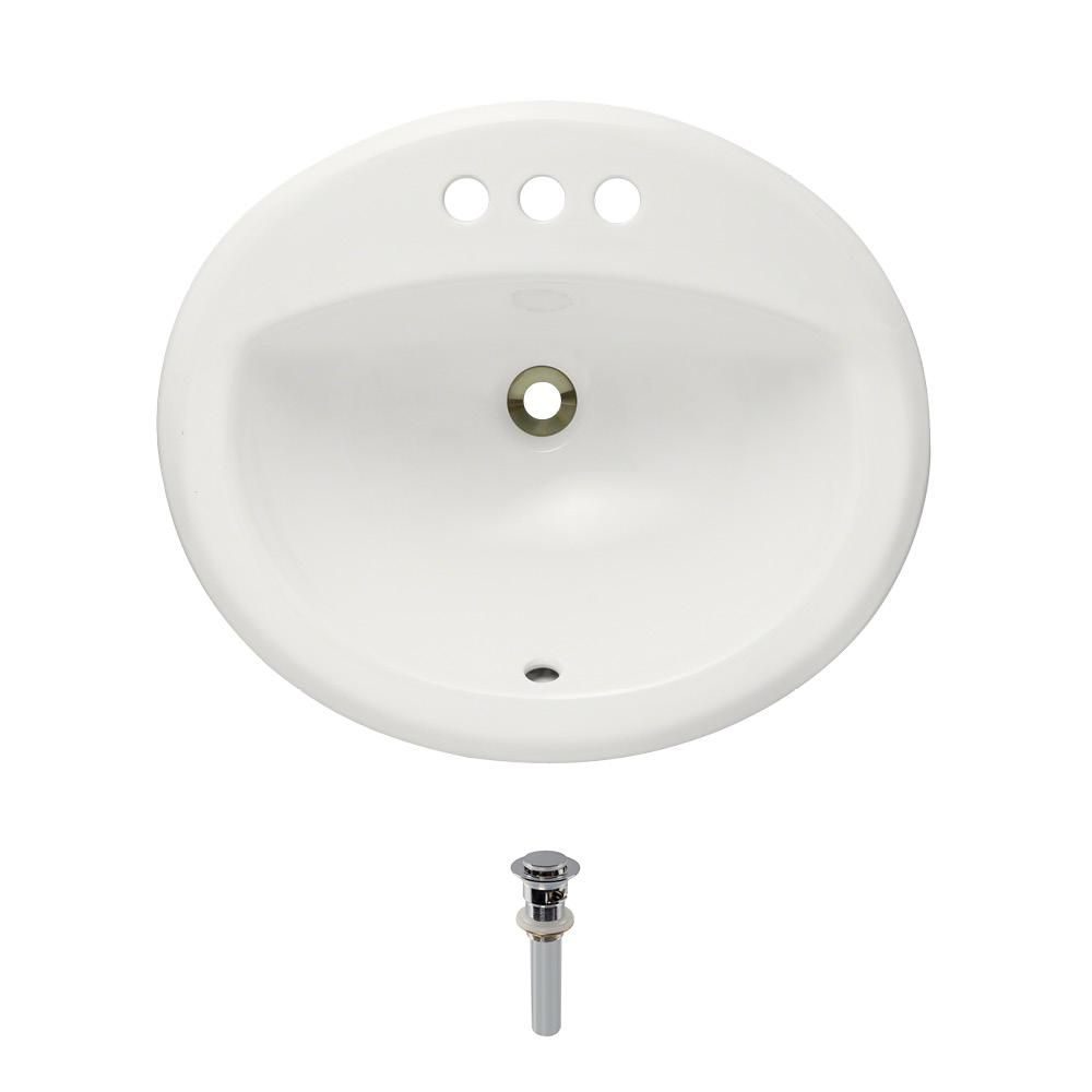 Mr Direct Overmount Porcelain Bathroom Sink In Bisque With Pop Up