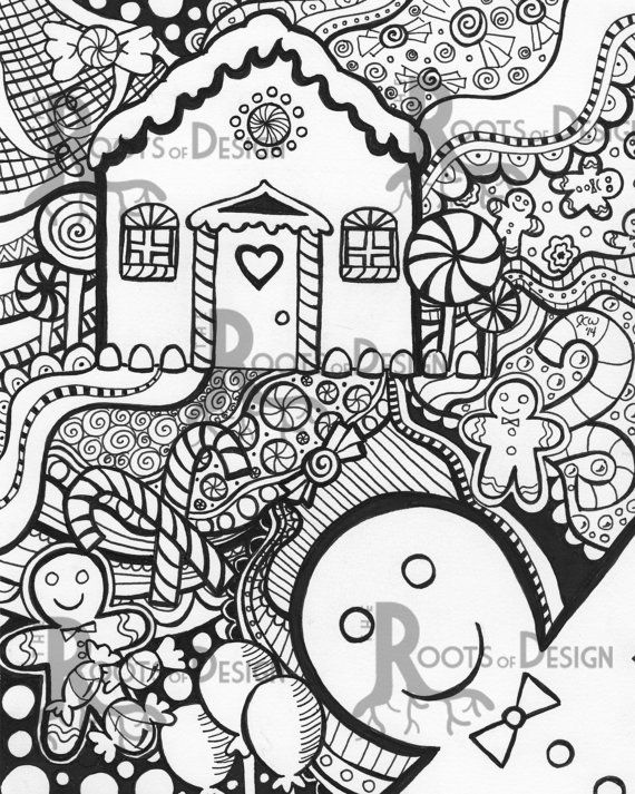 Instant Downloadprintable Gingerbread Man And House Holiday Rhpinterest: Holiday House Coloring Pages At Baymontmadison.com