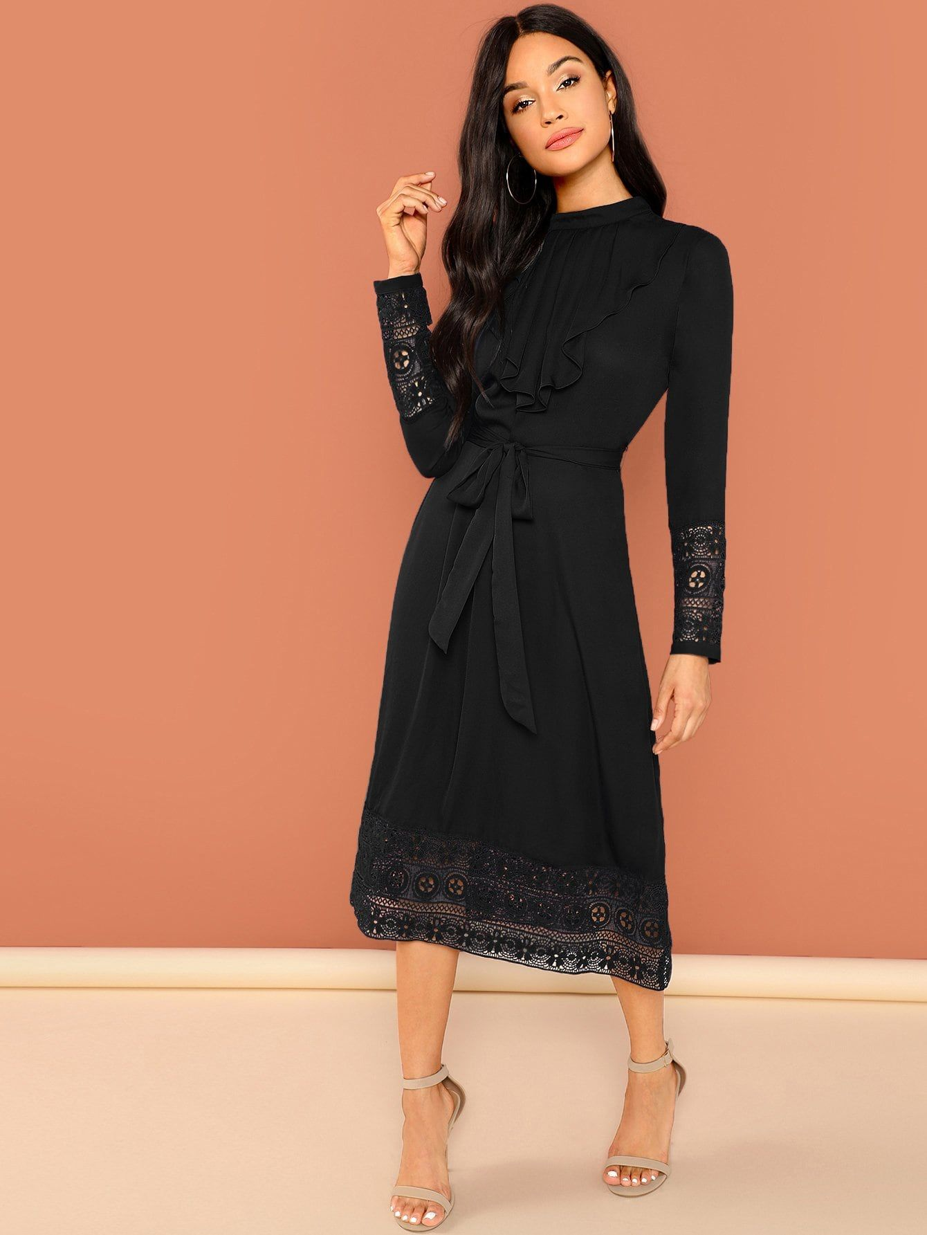 39a4b81cd85ee Elegant A Line Ruffle and Sheer and Contrast Lace and Knot and Pleated and  Belted Plain Shift Stand Collar Long Sleeve Natural Black Long Length  Pleated ...