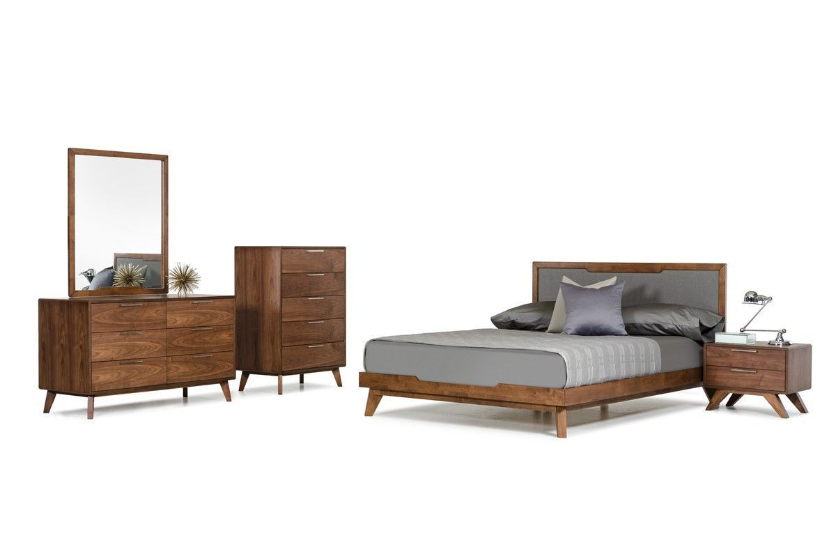 Delicieux Features:  This Contemporary Bed Features A Walnut Veneer Finish And Gives  Any Bedroom A Unique, Natural Look And Feel. It Has A Gray Linen Fabric  Headboard ...