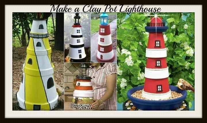 Lighthouses Clay Pot Lighthouse Clay Pots Painted Clay Pots