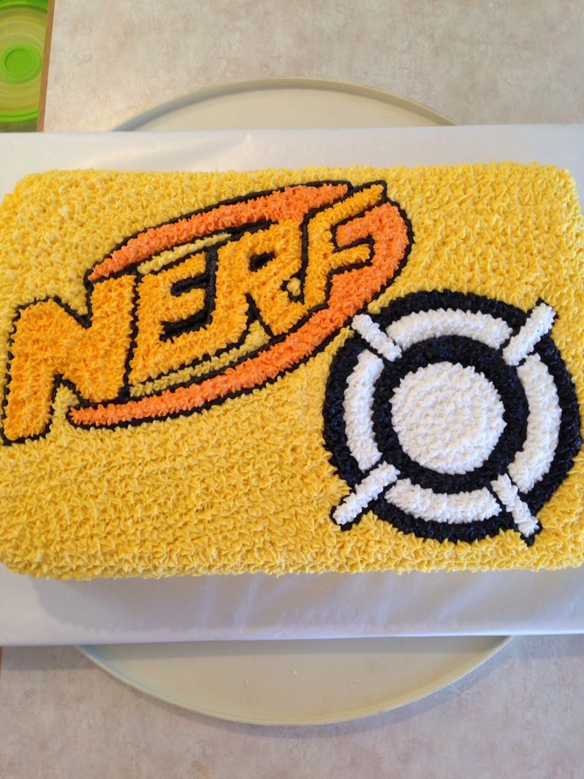 Nerf Cake I Made For My Sons 6th Birthday Added Real Bullets To The Target Yet 9x13 Pan 2 Entire Mixes Printed Off Label And Cut It Out