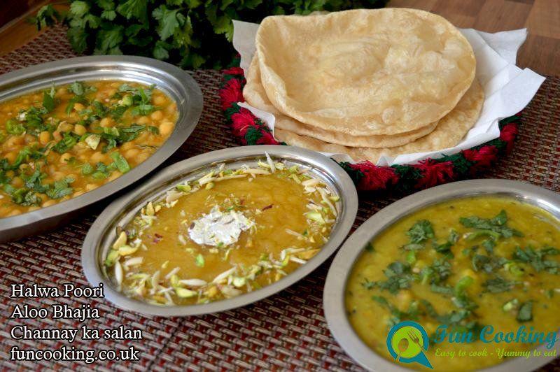 Halwa Pori With Aloo Bhajia And Channa Salan حلوہ پوری الو بھجیا اور چنا سالن کے ساتھ Pakistan Food Recipes Traditional Breakfast