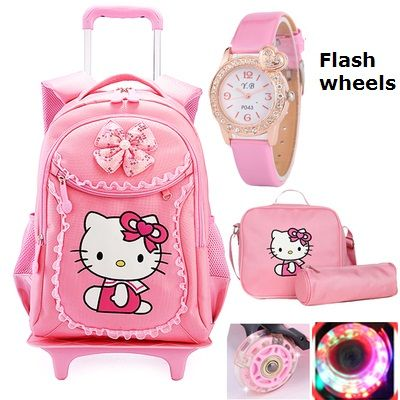 c8cd007b10 Beautiful Hello Kitty backpack on wheels. Great for travel or school. Lots  of extras and the wheels light up! Pick basic black no flash wheels and add  on ...