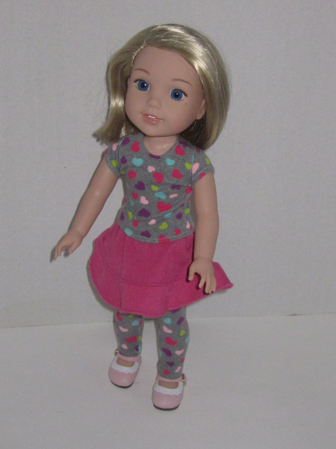 """14.5/"""" Doll Clothes-fit American Girl-Wellie Wishers-Dress-Grey Pink Hearts"""