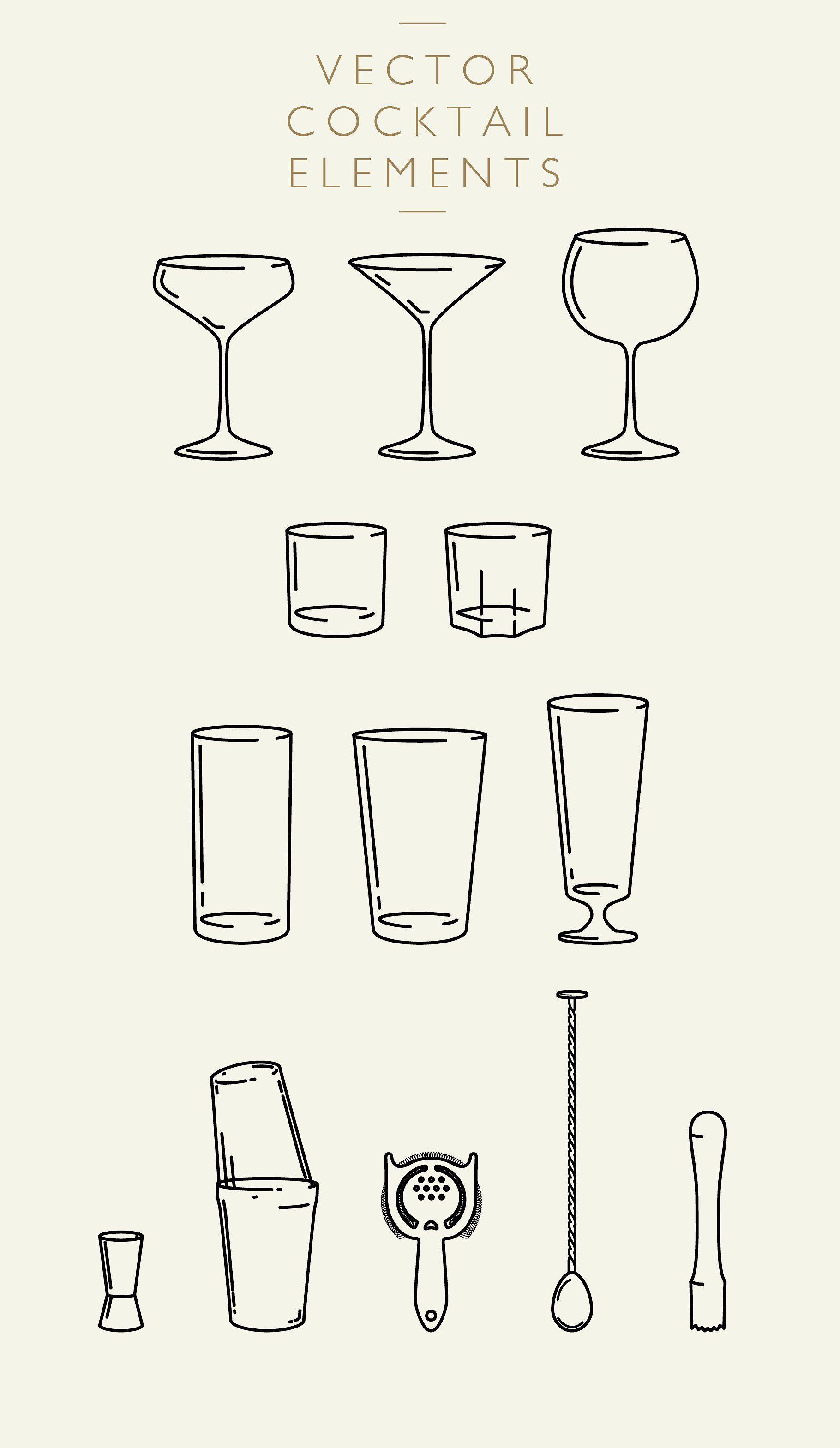 Cocktail Elements Vector & PNG Cocktail illustration