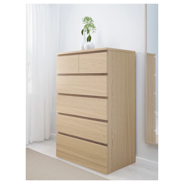 ikea malm 6 drawer dresser white