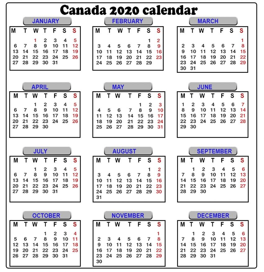 Free Printable 2020 Calendar With Canadian Holidays