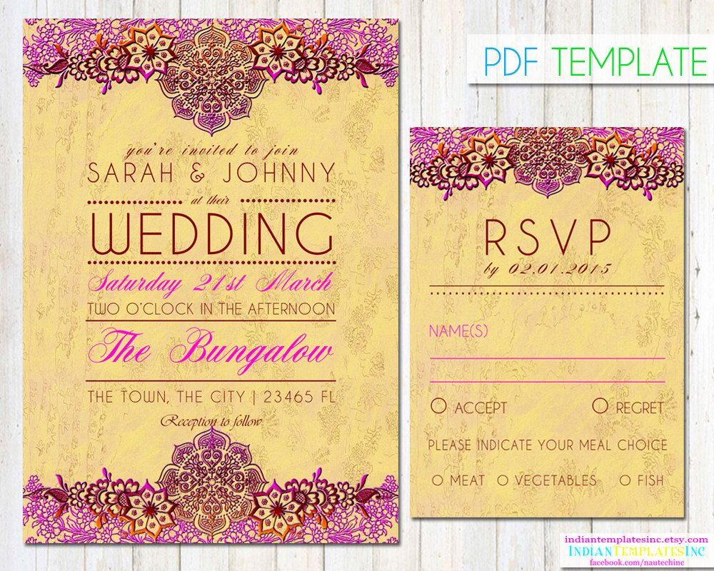 Bollywood Party Invitation - Indian Wedding Cards - DIY Printable ...