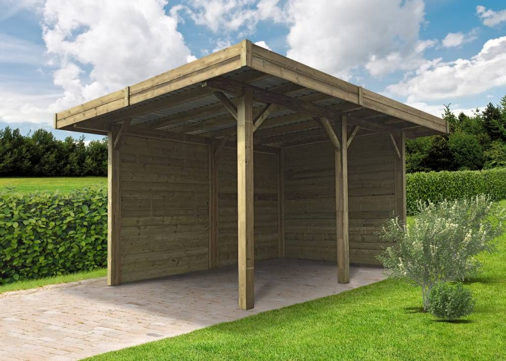 carport semi ouvert en bois carports et toit terrasses pinterest bois garage bois et. Black Bedroom Furniture Sets. Home Design Ideas