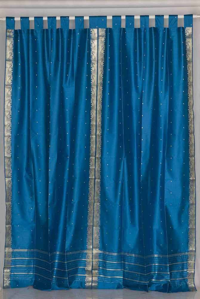 Tab Top Pair Turquoise Sari Drapes Panels Curtains With