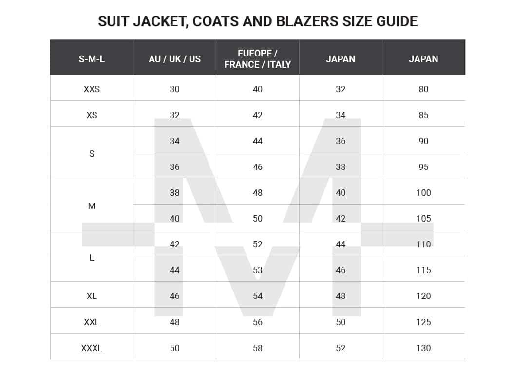 Australian mens clothing size conversion charts suits