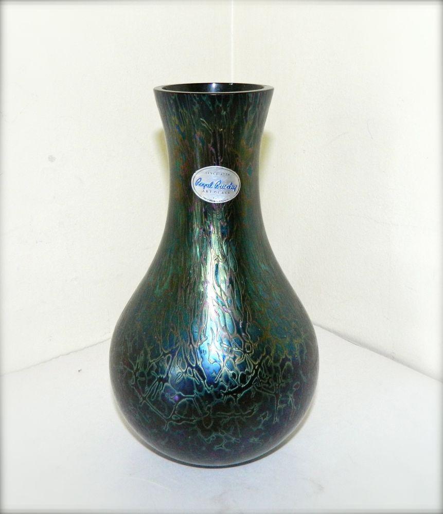Vintage royal brierley studio glass vase iridescent black blue vintage royal brierley studio glass vase iridescent black blue green england reviewsmspy