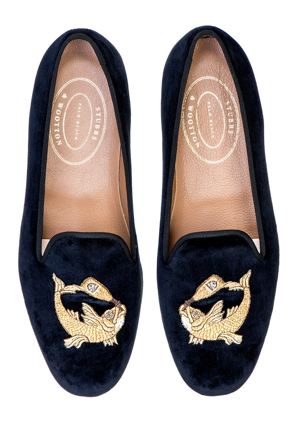 b1b4ee582129 Our Boozefish slipper features a Black Velvet Upper with a Black Grosgrain  Trim. Finished off with our Boozefish embroidery. - Meticulously  Hand-crafted in ...