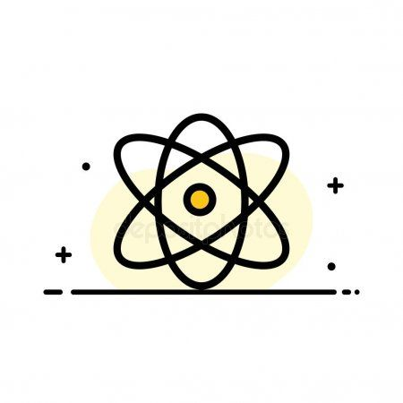 Atom Education Physics Science Business Flat Line Filled Ico  Stock