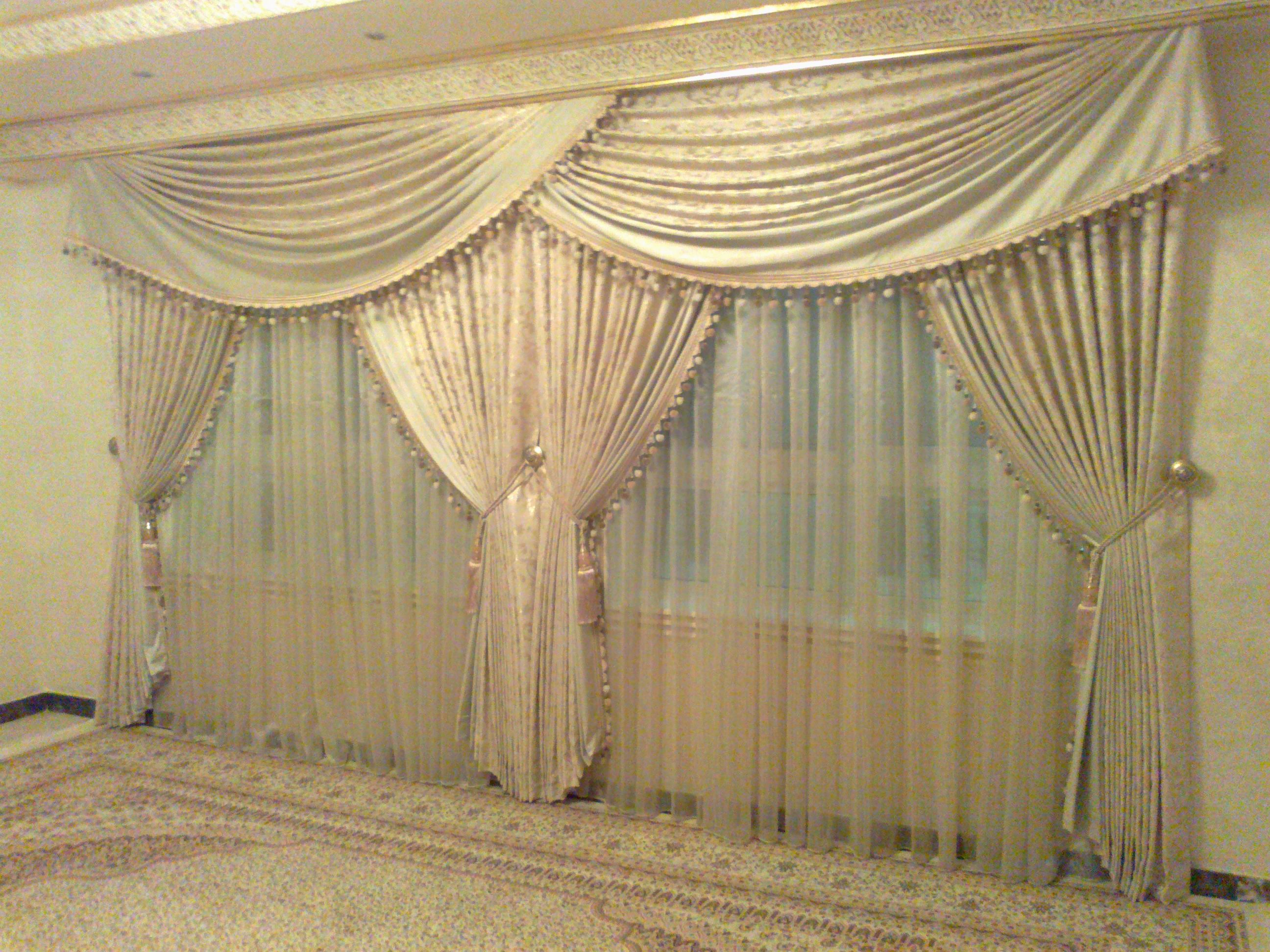Curtain Designed For The Dining Room Or Banquet Hall In Front We Have Two Types Of Satin The First One Of Beige Plain And Th Curtain Designs Curtains Dining