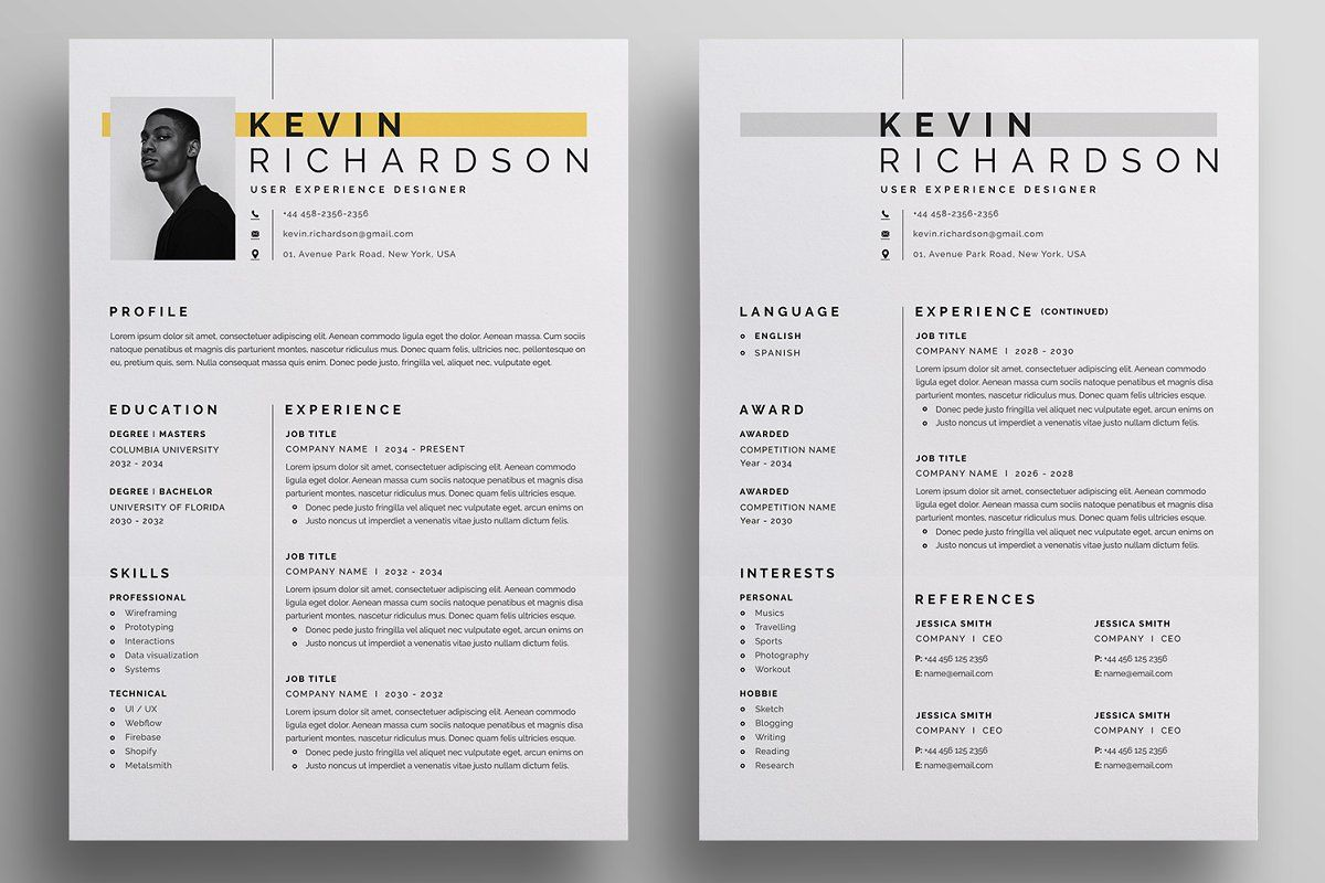 Ad Resume/CV by Reuix Studio on creativemarket. O V E R