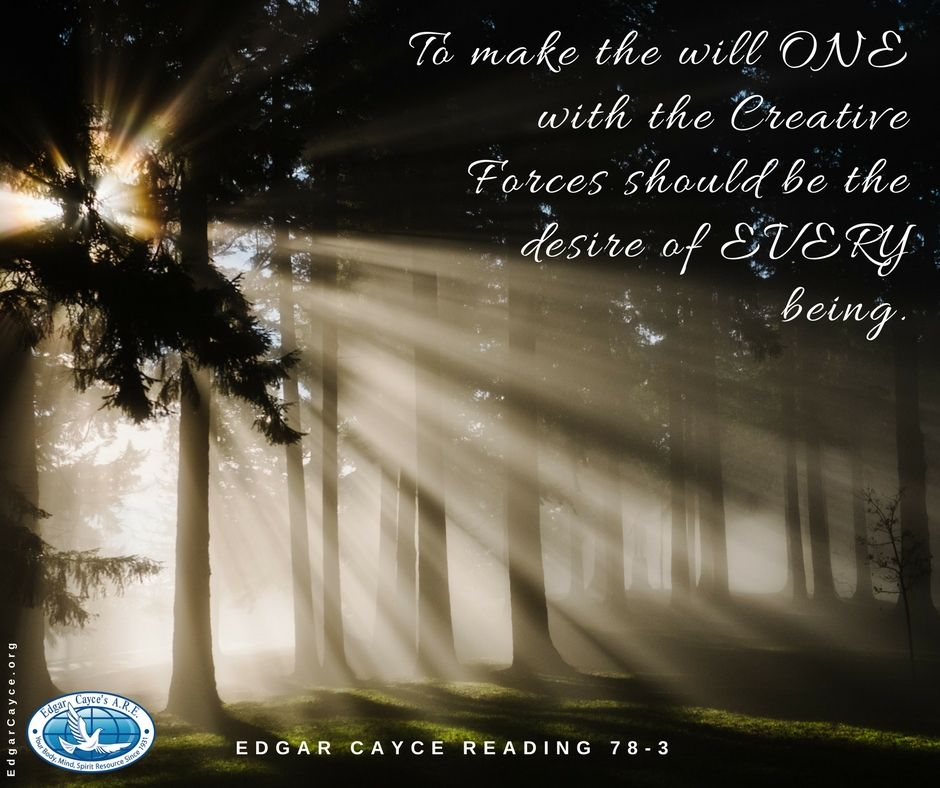 To make the will one with the Creative Energy should be the desire of EVERY being. #Oneness #EdgarCayce reading 78-3
