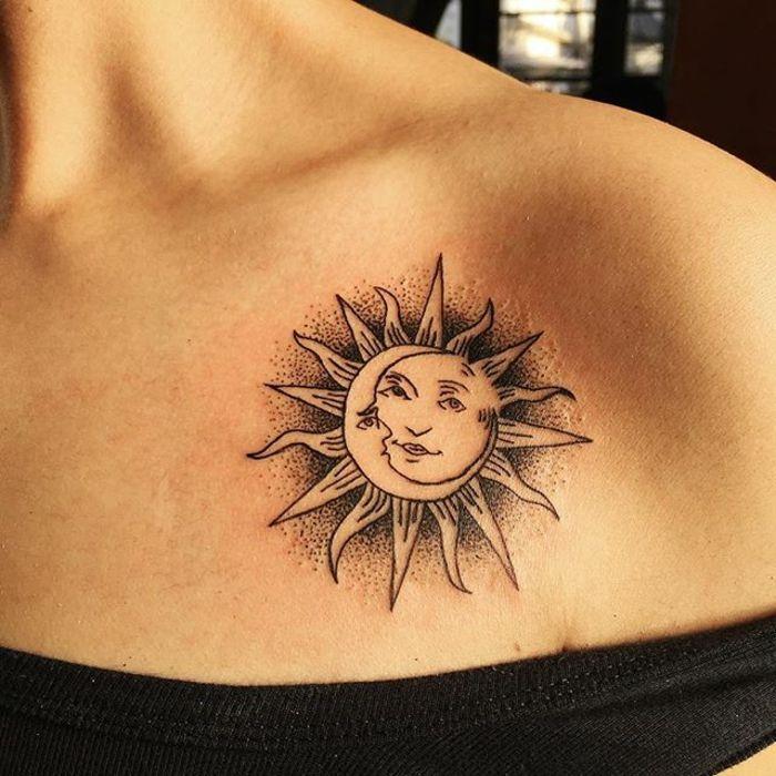 ▷ 1001 + versions fantastiques du tatouage lune et soleil | small