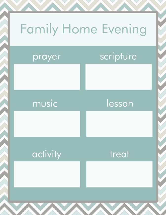 LDS FHE Charts | Fhe, Family home evening, Lessons activities