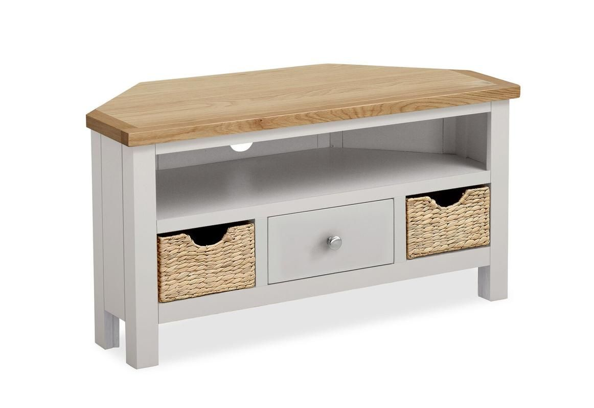 Surprising Farrow Corner Tv Stand With Baskets Latte Clearance My Home Remodeling Inspirations Basidirectenergyitoicom
