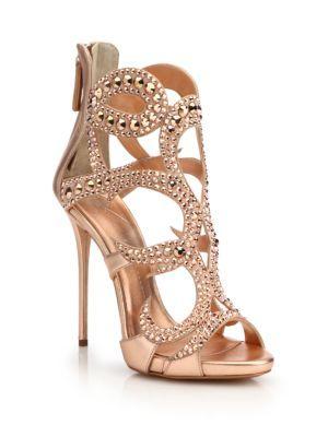 4b98386fd598 Giuseppe Zanotti - Crystal-Studded Suede Sandals