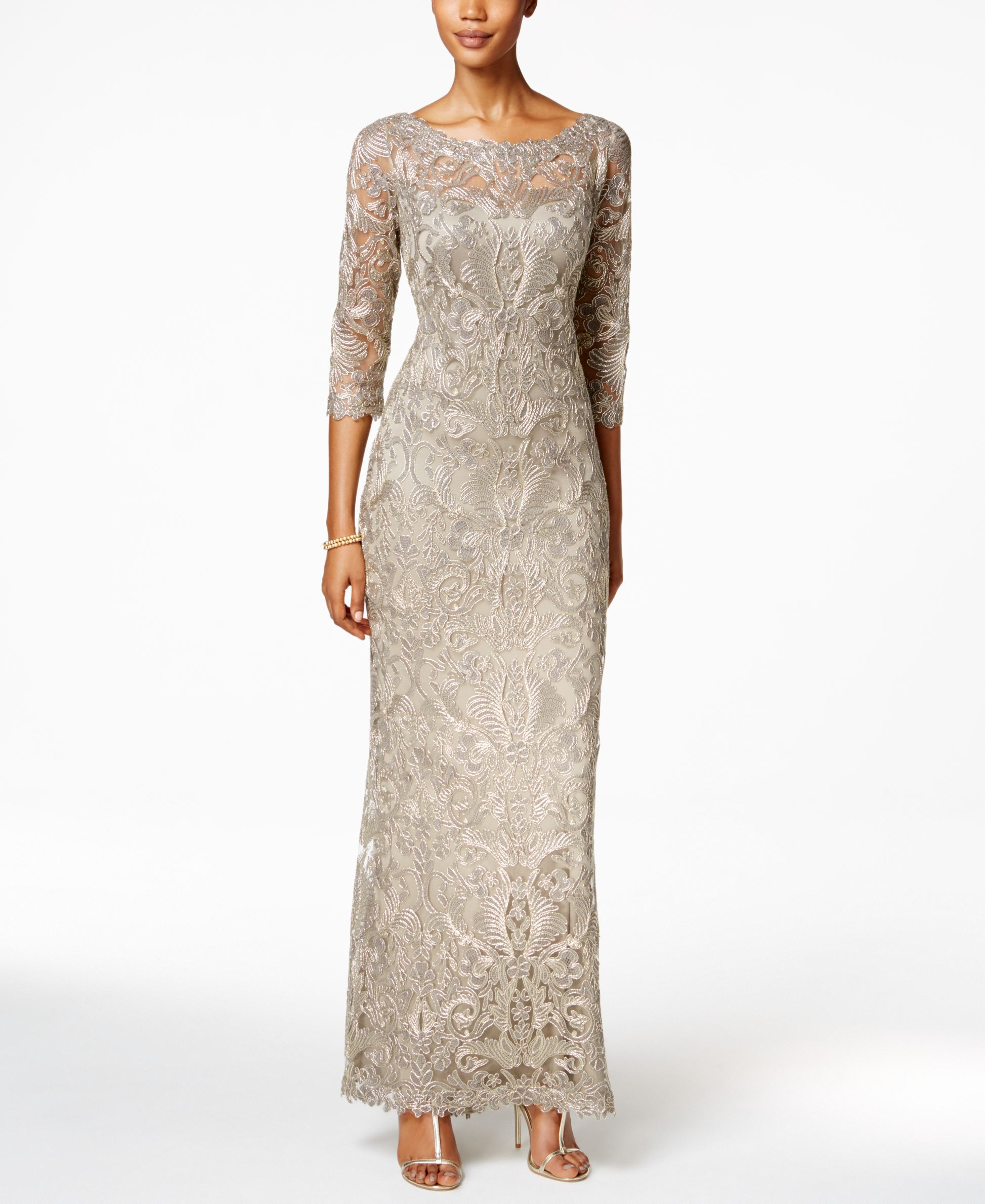 Tadashi Shoji Embroidered Lace Illusion Gown | Products | Pinterest ...