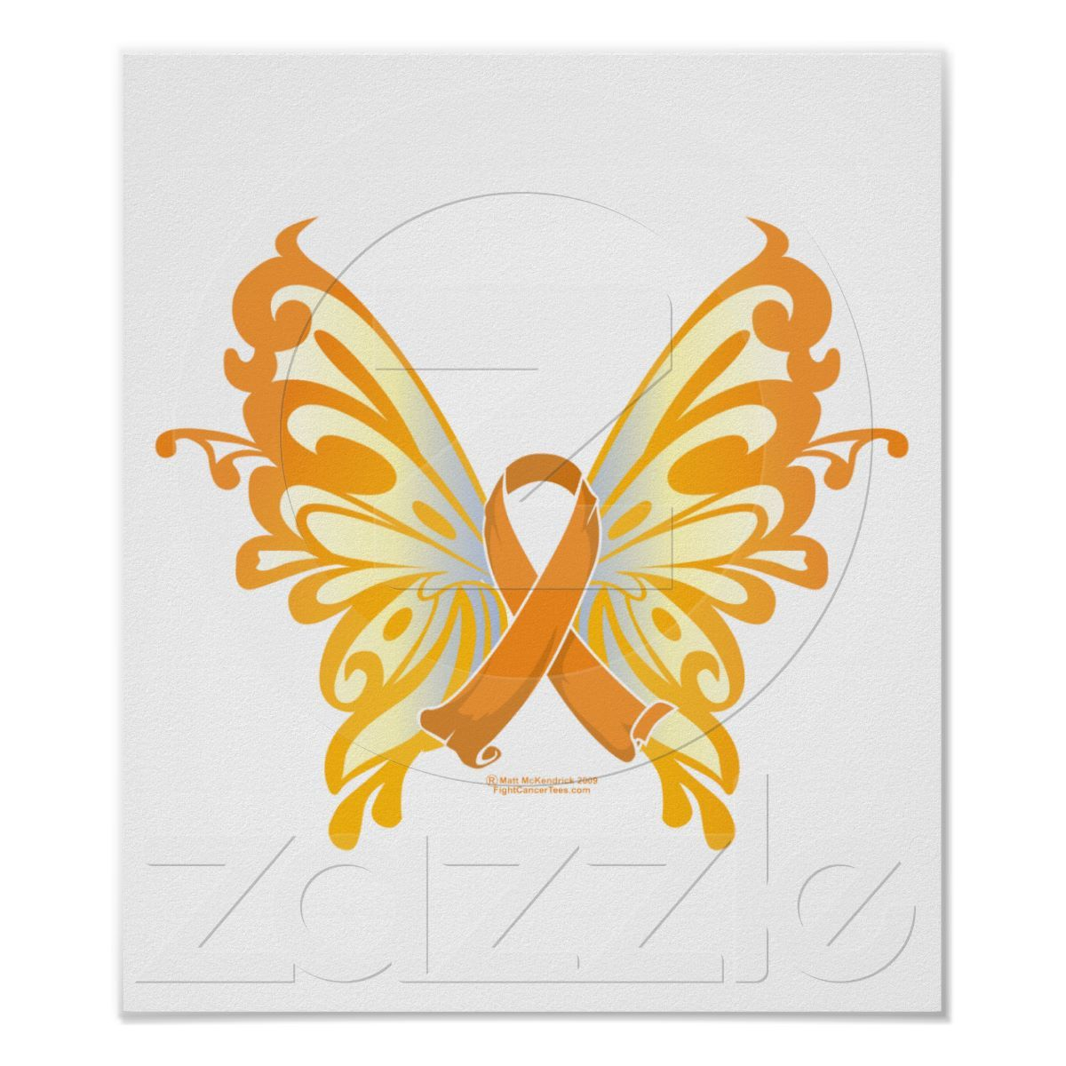 Leukemia Butterfly Ribbon Poster Childhood cancer Orange