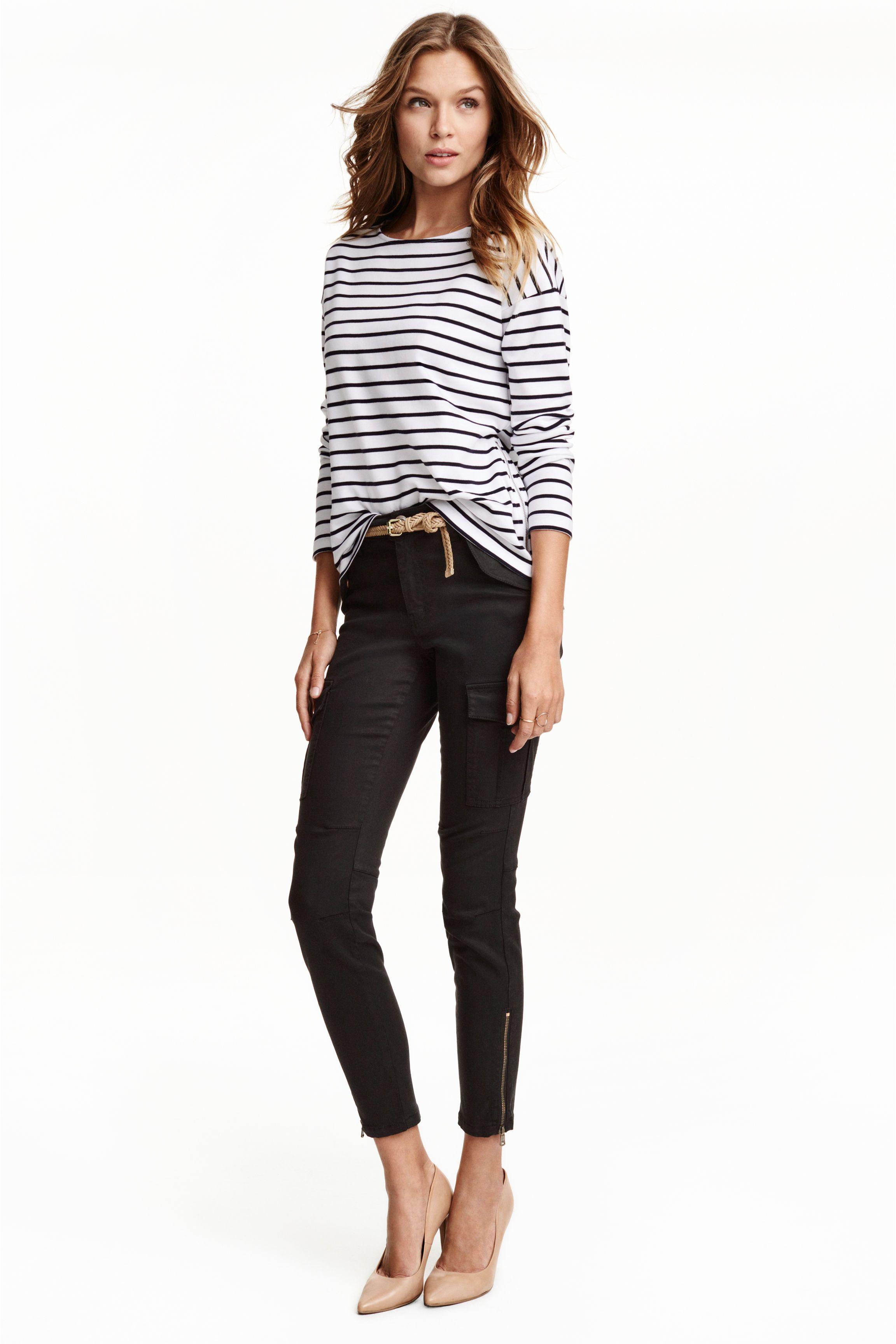 Cargo pants in a lyocell blend - Black - Ladies | H&M GB