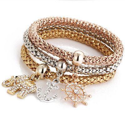 2016 Hot 3 Pcs Set Crystal Butterful Bracelet Amp Bangle
