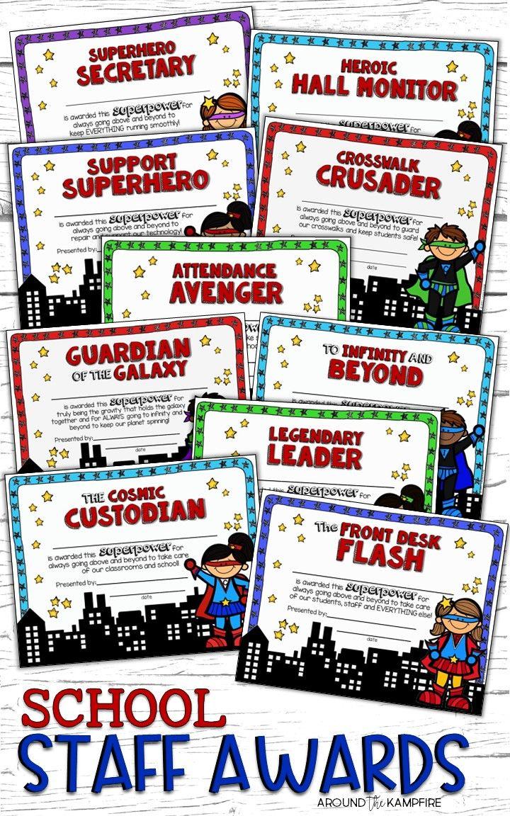 School Staff Awards Teacher Appreciation Week Themes Superhero Teacher Appreciation Staff Awards Funny award categories for teachers