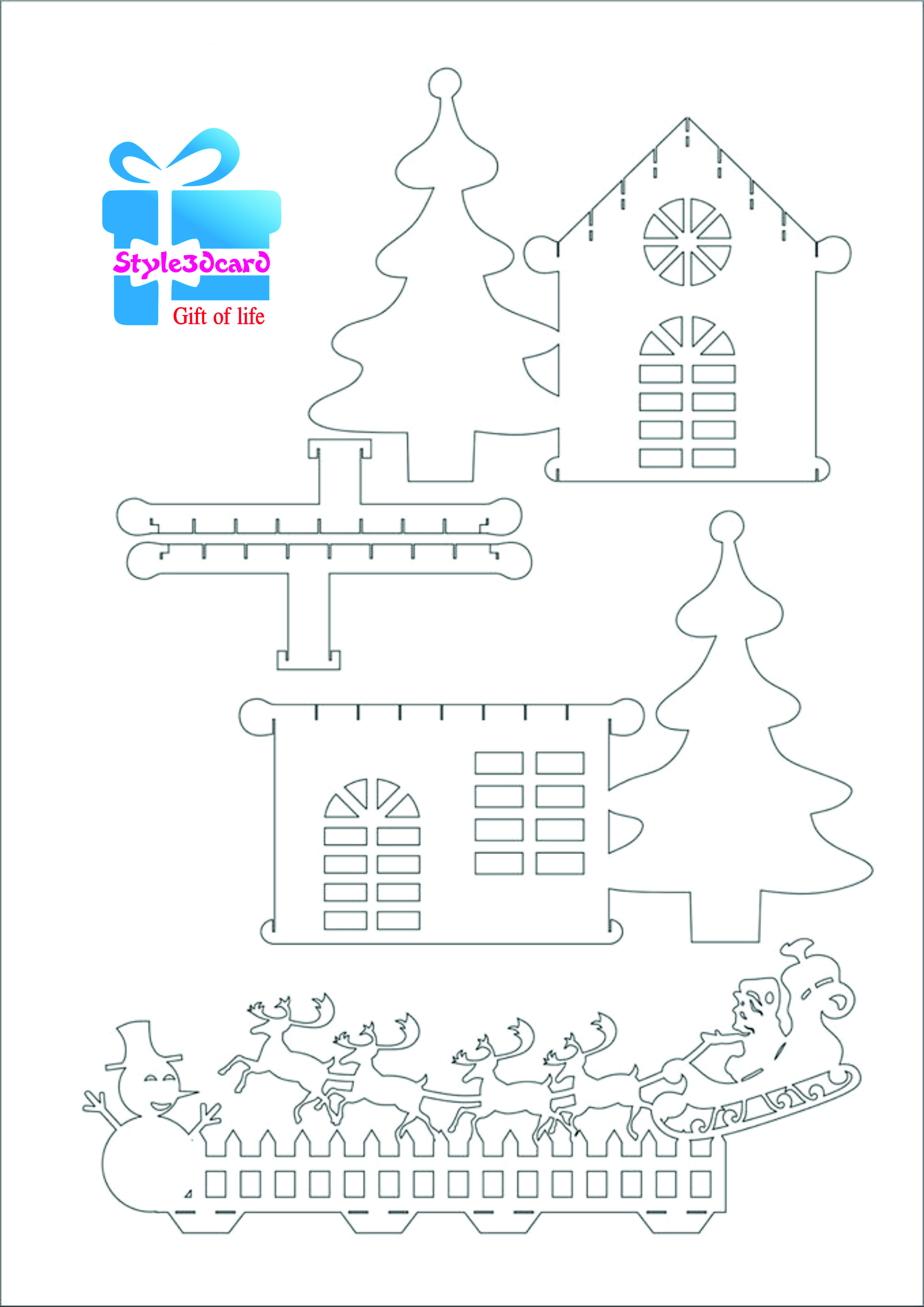 Merry Christams invitation house New Year gift cards kirigami ...