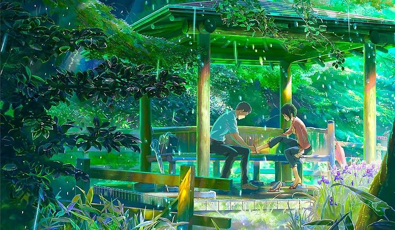 The Garden Of Words Kotonoha No Niwa Posters By Neodesign Redbubble Garden Of Words Slice Of Life Anime Anime Movies